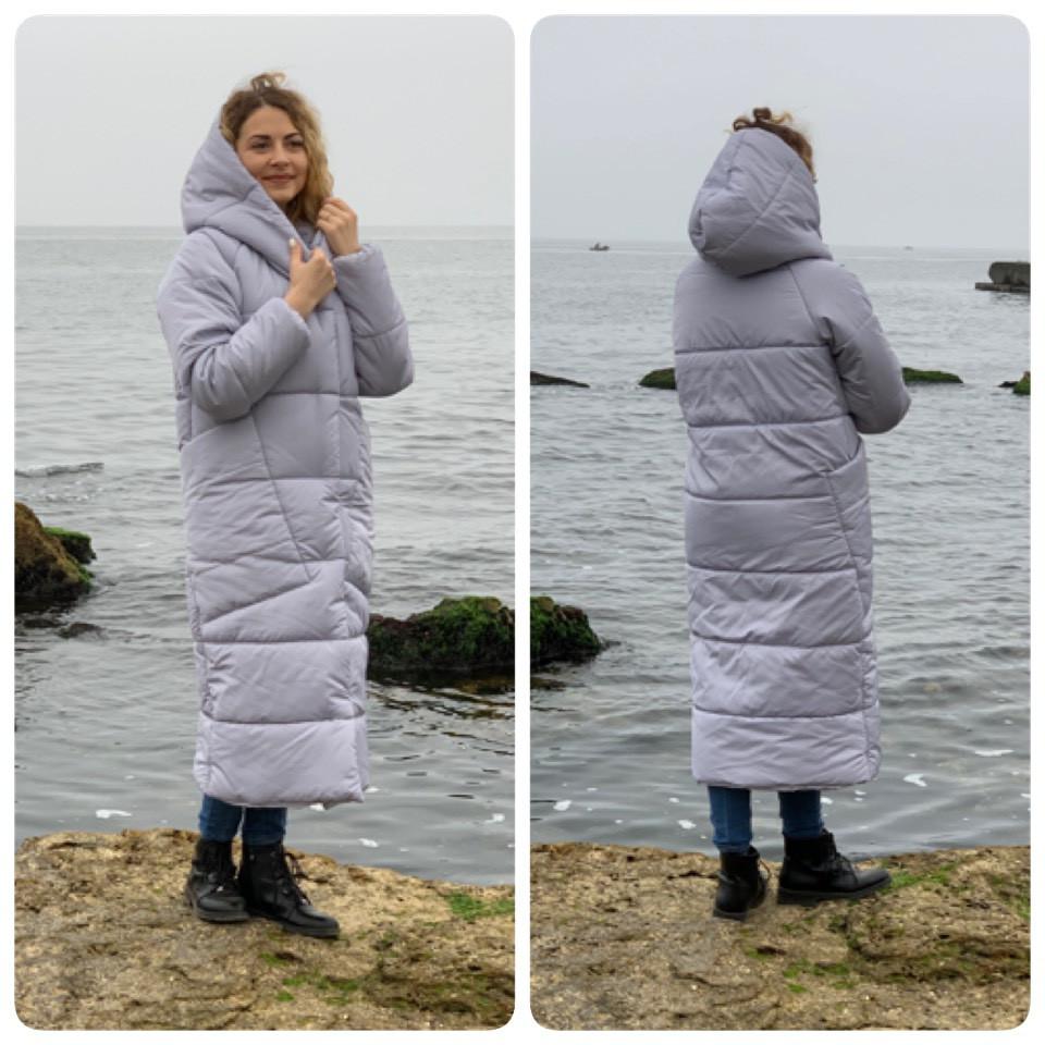 Куртка пуховик Oversize зимова, артикул 500, колір сірий світлий