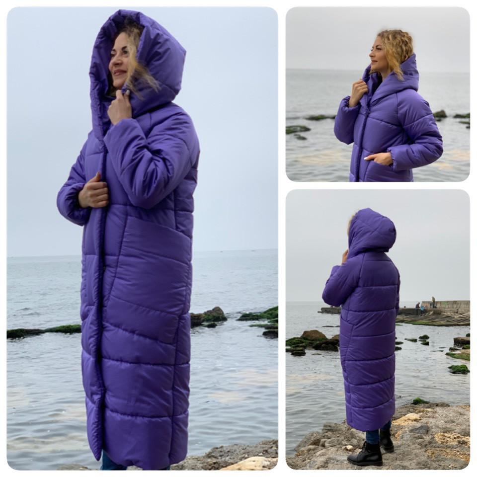 Пальто курка кокон Oversize зимова, артикул 500, фіалковий колір