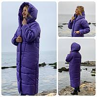 Пальто курка кокон Oversize зимова, артикул 500, фіалковий колір, фото 1