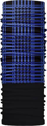 Зимовий бафф Бандана-трансформер двошаровий синя арафатка Чорний з синім (ZBT-2f-068-1), фото 2