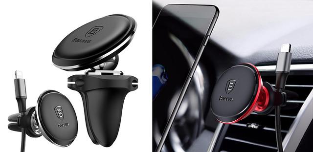 Магнитный автодержатель для телефона Baseus Magnetic Air Vent Car Mount SUGX-A01 Ченое