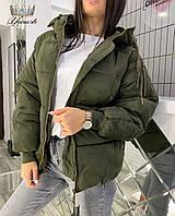 Женская теплая черная зимняя куртка плащевка непродуваемая с капюшоном