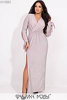 Длинное платье из люрекса в больших размерах с длинным рукавом 115326