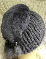 Меховая шапка с бубончиками из норки на вязанной основе цвет платина