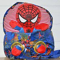 Яркий тексильный рюкзак для мальчика, дошкольный, со съемной игрушкой Человек Паук, для мальчиков