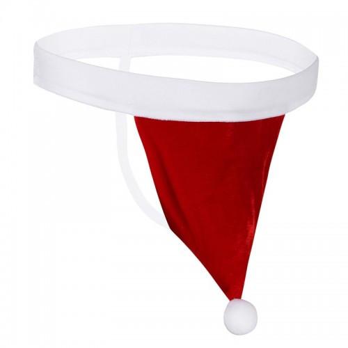 Новогодние мужские трусы стринги Санта Клаус в форме шапки Деда Мороза