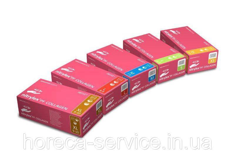 Перчатки Mercator Medical Nitrylex® PF Collagen с коллагеном нитриловые 50 пар, размер М