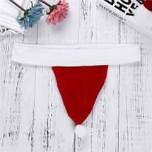 Новогодние мужские трусы стринги Санта Клаус в форме шапки Деда Мороза, фото 3