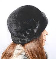 Норковая шляпа женская с розой, фото 1