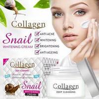 Коллагеновый крем для лица с муцином улитки Snail Collagen омоложение +увлажнение + питание + анти акне 80g, фото 1