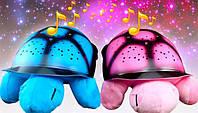 Музыкальный ночник-проектор Звездная черепаха с USB и адаптером Розовый, фото 1