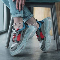 Женские кроссовки в стиле Balenciaga Triple S Clear Sole Blue/Grey/Red