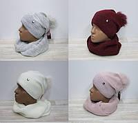 Комплект шапка+хомут женский арт 1851,цвета.
