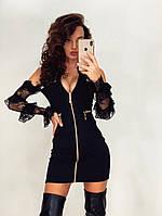 Платье футляр на молнии с рукавами из кружева и открытыми плечами 71PL259