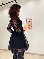 Платье с пышной юбкой и сеткой в горошек сверху 71PL273