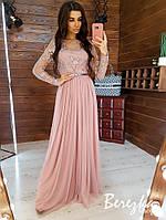 Длинное платье с верхом из сетки с кружевом и струящейся фатиновой юбкой 66PL277Q