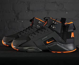 "Мужские кроссовки ACRONYM x Nike Air Huarache CITY MID LEA ""Black/Orange"" (Найк Аир Хуарачи Акроним)"