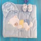 Детский комплект для новорожденного: конверт-одеяло+шапочка+пинетки, голубой (3094), Bebessi (Турция)