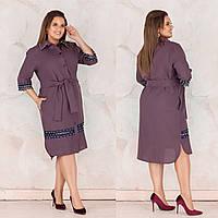 Нарядное осеннее платье из костюмного габардина + кружева с жемчугом, карманами, поясом и пуговицами (48-58) Фиолетовый