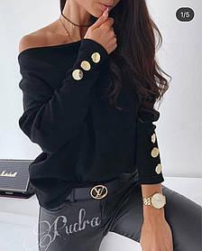 Стильный свитерок ангора свободного кроя с длинными рукавами и пуговками на них. Р-р 42-46