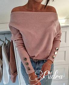 Стильный свитерок ангора свободного кроя с длинными рукавами и пуговками на них. Р-р 42-46 Фрез