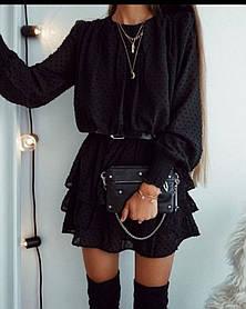 Лёгкое шифоновое платьев горошек, приталенный ремнем, с воланами по низу, длинный рукав(42-46)