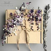 Гребень и вечерние серьги ручной работы с цветами, украшение для волос, украшения на выпускной