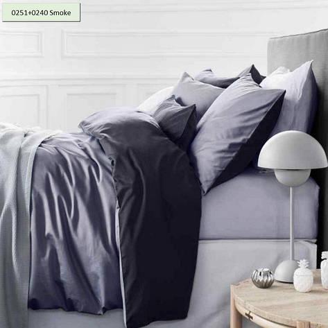 Комплект постельного белья двуспальный 175х210 Сатин 0251+0240 Smoke, фото 2
