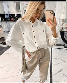 Блузка из софта с длинными рукавами, карманами и пуговицами, свободный крой, универсальный размер