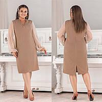 Нарядное платье из костюмного крепа + сетка принт, свободный крой, украшения в комплекте (50-56), фото 1