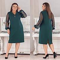 Нарядное платье из костюмного крепа + сетка принт, свободный крой, украшения в комплекте (50-56) Изумруд