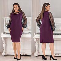 Нарядное платье из дайвинг крепа + сетка принт флок на рукавах + украшение с пайеткой на шее (50-56), фото 1
