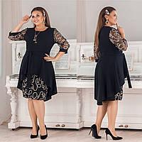 Нарядное платье из дайвинг крепа + вышивка фактурный люрексовый кант на сетке с асимметричным шлейфом (50-56) Чёрный