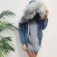 Куртка джинс на меху, средняя длина, на пуговицах, карманами и мехом на капюшоне  (42-46)