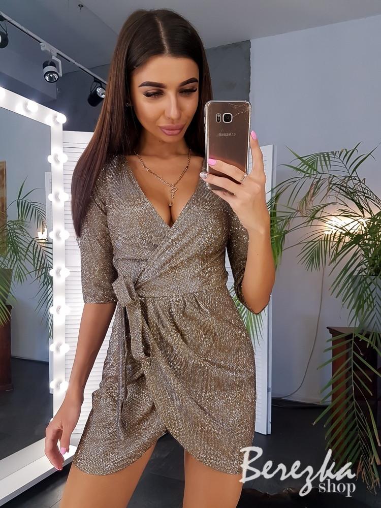 Платье на запах из люрекса с асимметричной юбкой 66py291Q