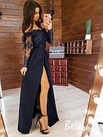 Длинное платье с кружевным верхом и открытыми плечами 66py299Е
