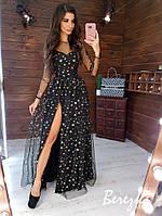 Длинное платье со звездами и сеткой сверху 66py300Е
