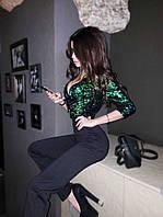 Комбинезон женский с брюками и верхом из пайетки 71ks303