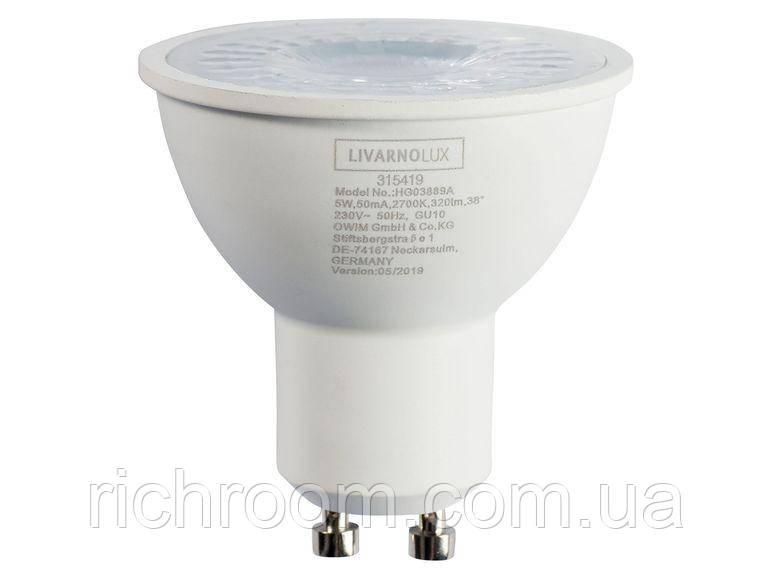 F1-00306, Светодиодная LED лампочка, лампа, 5 Вт, GU10, 320 Лм, Livarno Lux теплый белый