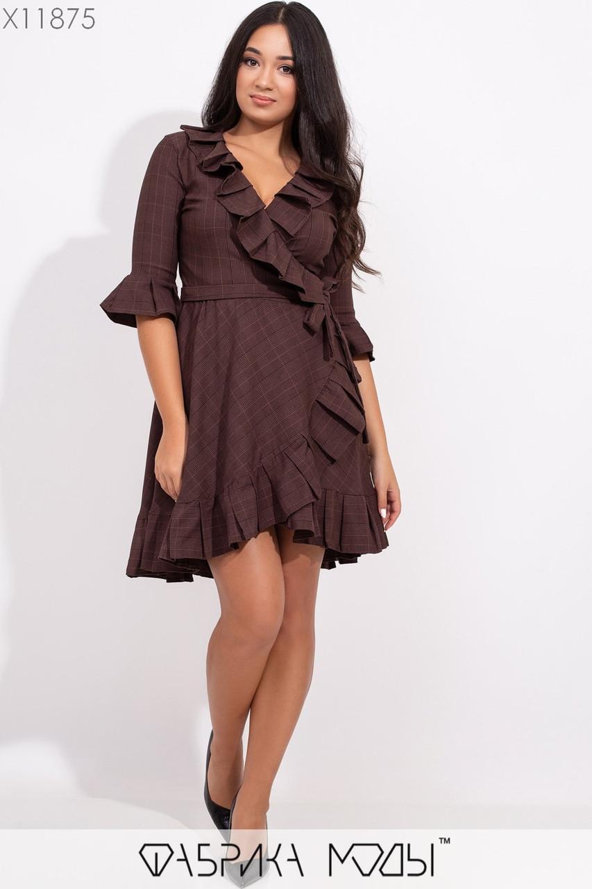 Джинсовое платье на запах в больших размерах с оборками 1ba336