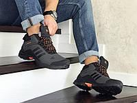 Мужские зимние кроссовки серые с оранжевым Adidas Climaproof 8569