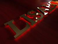 Металлические буквы c контражурной подсветкой, h-200мм (Цвет металла: Золото зеркало;  Текстура: Серебро сатин; Цвет светодиодного модуля: Белый;