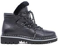 Женские натуральные кожаные зимние повседневные черные ботинки на толстой подошве / натуральный мех Польша