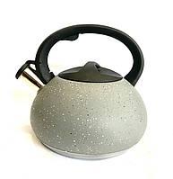 BN-714 (12)-Чайник со свистком- Нерж-3 л