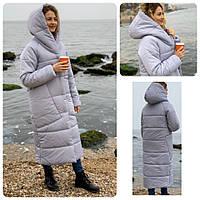 Куртка кокон длинная зимняя в стиле одеяло M500 жемчужно серый / светло серый нежный