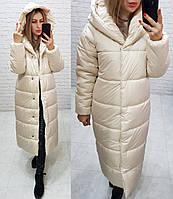 Куртка пуховик одеяло зима oversize с капюшоном арт. М521 кремовая / молочная / светло бежевая