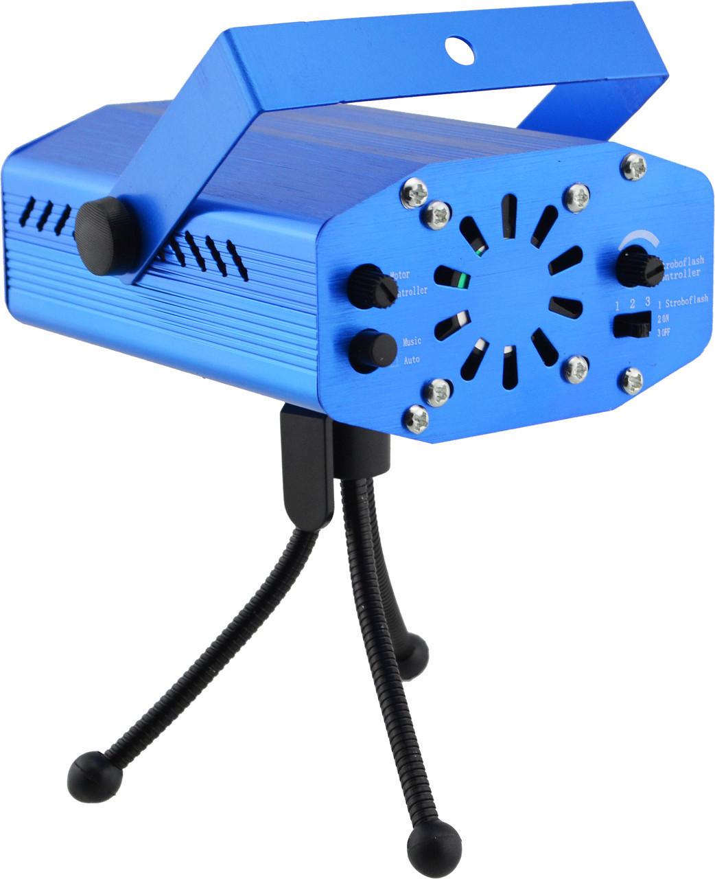 Лазерный проектор Mini Laser Stage Lighting, стробоскоп, лазер шоу