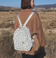 Женский рюкзак ПАУТИНКА с кожаной спинкой жіночий рюкзак экокожа школьный рюкзак Белый