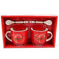 Подарочный набор из 2х чашек и ложек Love - 203621