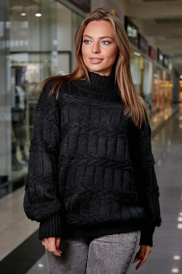 Повседневный женский свитер чёрный, р.42-48, вязка